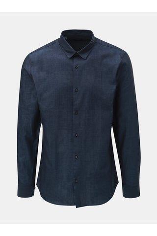 Camasa albastru inchis slim fit in dungi cu maneci lungi Selected Homme Slim John