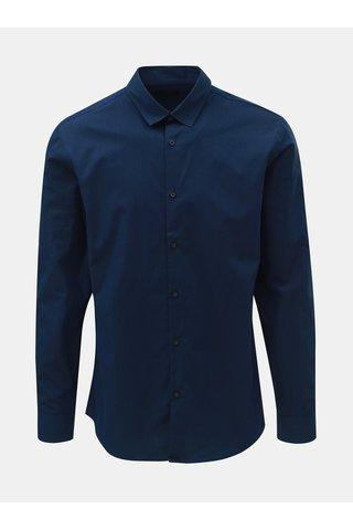 Camasa albastru inchis slim fit cu dungi discrete Selected Homme Slim John
