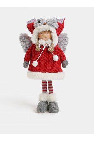 Figurina gri-rosu de Craciun in forma de fetita cu aripi si caciula cu model bufnita Kaemingk