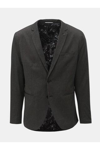 Tmavě šedé slim sako s náprsní kapsou Selected Homme Mark