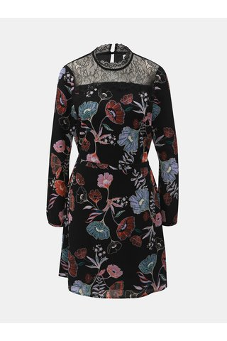 Černé květované šaty s krajkovým sedlem VILA