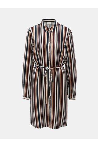 Vínovo-hnědé pruhované košilové šaty VILA