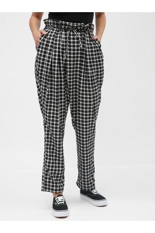 Bílo-černé kostkované kalhoty s vysokým pasem a páskem La femme MiMi