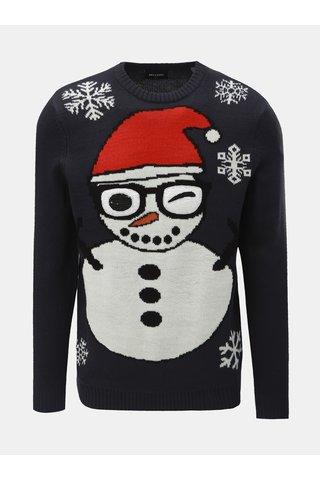 Tmavě modrý svetr s vánočním motivem ONLY & SONS Snowman