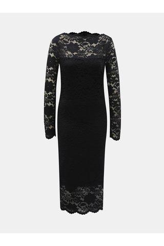 Černé pouzdrové krajkové šaty s dlouhým rukávem VILA