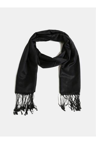 Černý hedvábný šátek s třásněmi La femme MiMi