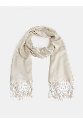Krémový hedvábný šátek s třásněmi La femme MiMi