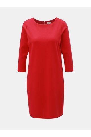 Tmavě růžové šaty s 3/4 rukávem VILA
