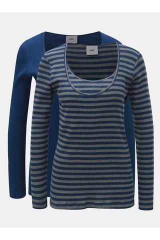 Set de 2 tricou gri-albastru cu maneci lungi pentru alaptat Mama.licious