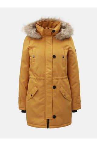 Hořčicová zimní parka s odnímatelným umělým kožíškem na kapuci VERO MODA Cursion