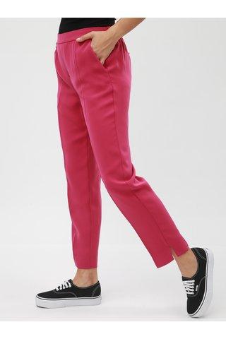 Pantaloni plisati roz inchis pana la glezne cu talie inalta VERO MODA Hanna