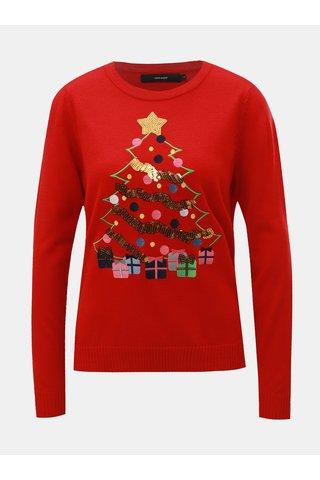 Pulover rosu cu paiete si motiv de Craciun VERO MODA Christmas Tree