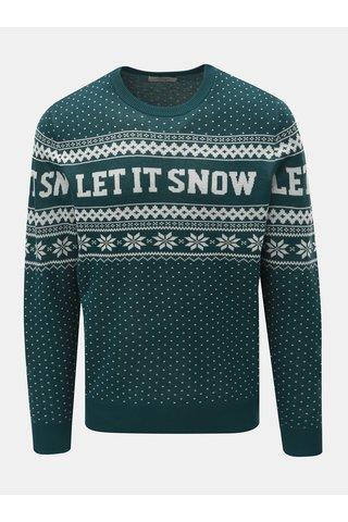 Bílo-zelený svetr s vánočním motivem Jack & Jones Flake