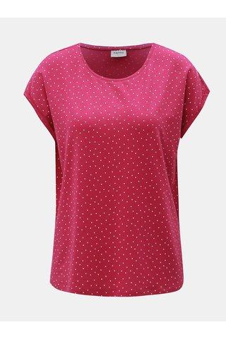 Tricou roz inchis lejer cu buline si maneci scurte VERO MODA AWARE Plain