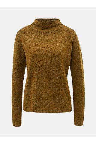 Pulover maro cu guler inalt si amestec de lana Jacqueline de Yong Roberta
