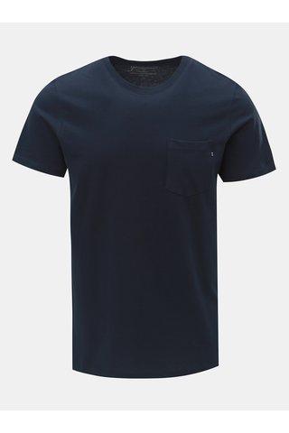 Tricou albastru inchis slim fit cu buzunar la piept Jack & Jones