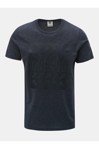 Tricou albastru inchis melanj slim cu imprimeu Jack & Jones Marl
