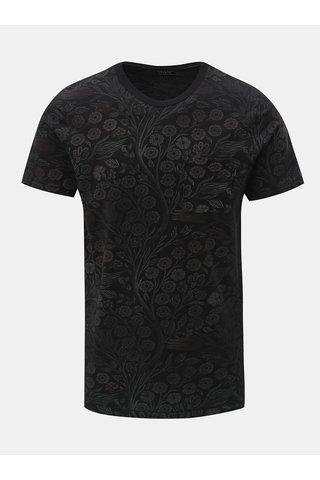 Tricou negru floral slim fit cu buzunar la piept Jack & Jones Terry