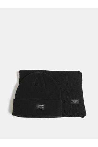 Sada čepice a šály v černé barvě v dárkovém balení Jack & Jones DNA