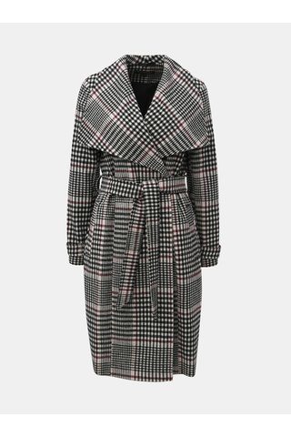 Pardesiu lung negru-alb tartan Miss Selfridge