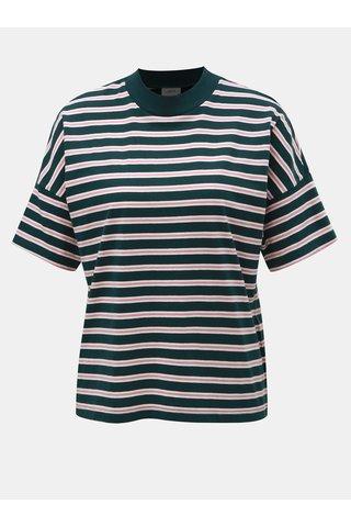 Růžovo-zelené pruhované tričko Jacqueline de Yong
