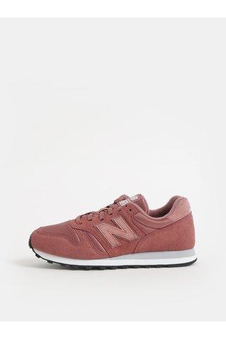 Pantofi sport roz prafuit de dama din piele intoarsa cu imprimeu pe calcai New Balance