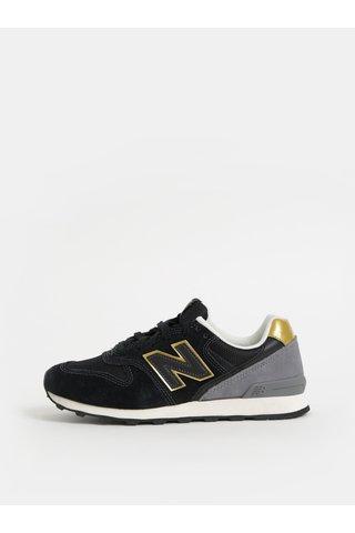 Pantofi sport negri de dama din piele intoarsa New Balance