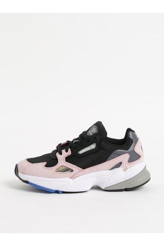 Růžovo-černé dámské kožené tenisky adidas Originals Falcon