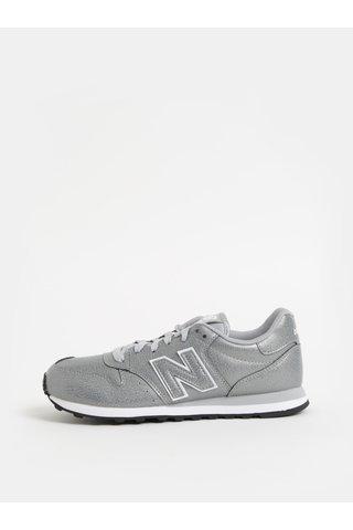 Pantofi sport argintii de dama cu imprimeu pe calcai New Balance