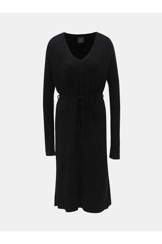 Černé svetrové šaty s véčkovým výstřihem a zavazováním touch me.