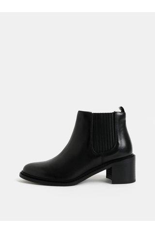 Černé dámské kožené chelsea boty na podpatku Royal RepubliQ