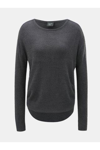 Šedý volný svetr s kulatým výstřihem touch me. Pocahontas Vibe