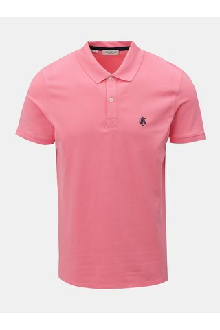 Tricou polo roz neon cu broderie Selected Homme Haro