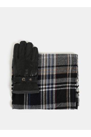 Set cadou de fular si manusi din piele negru Portland