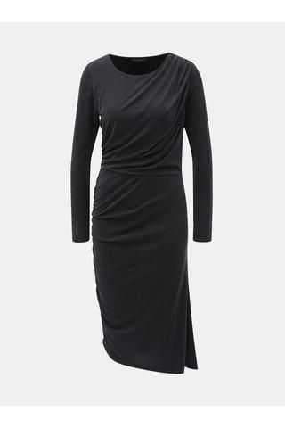 Rochie asimetrica neagra cu pliuri laterale Selected Femme Helen