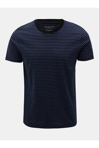 Tricou negru-albastru in dungi cu maneci scurte Selected Homme Perfect