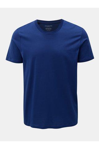 Tricou basic albastru inchis cu maneci scurte Selected Homme Perfect