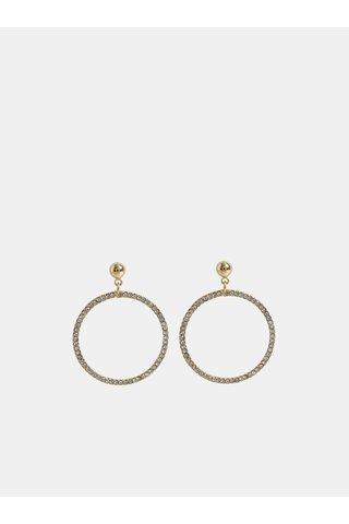 Kruhové visací náušnice ve zlaté barvě s kamínky Pieces Lexi