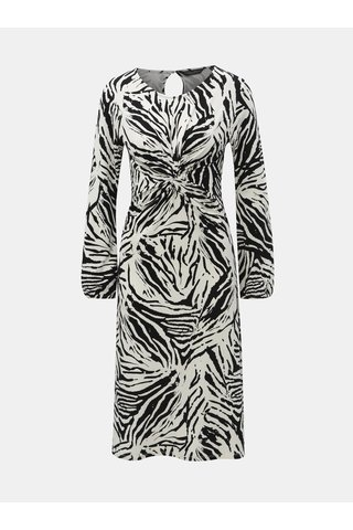 Rochie negru-alb cu model si pliuri Dorothy Perkins