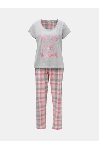 Pijama din 2 piese gri-roz cu inscriptie stralucitoare Dorothy Perkins