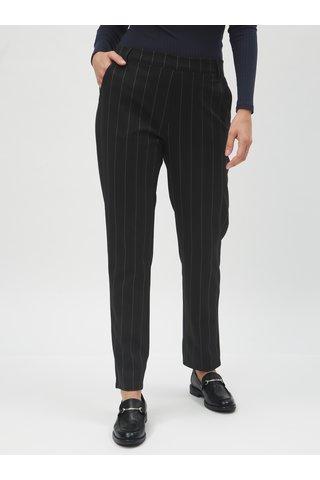 Černé pruhované kalhoty s gumou v pase Jacqueline de Yong