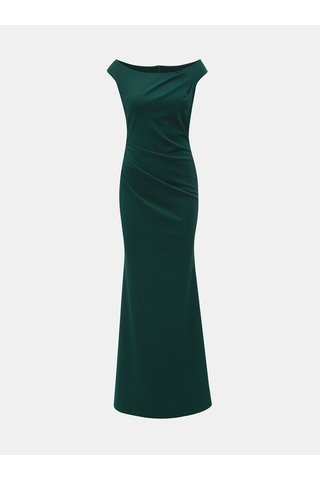 Rochie maxi verde inchis mulata cu decolteu barcuta si pliuri laterale ZOOT