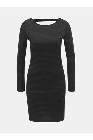 Rochie mini neagra cu decupaj la spate si dungi stralucitori Jacqueline de Yong Glitter