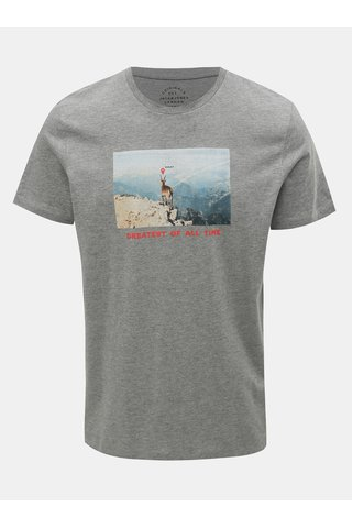 Tricou gri melanj cu imprimeu Jack & Jones Social