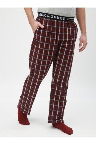 Vínové kárované pyžamové kalhoty Jack & Jones