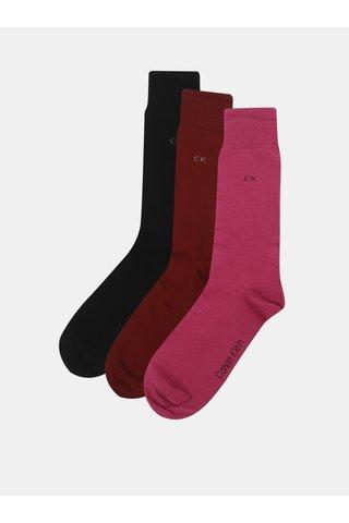 Sada tří párů pánských ponožek v černé, růžové a vínové barvě a v dárkové krabičce Calvin Klein Jeans
