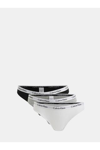 Sada tří kalhotek v bílé, šedé a černé barvě Calvin Klein Underwear
