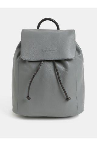Světle šedý kožený vakový batoh Smith & Canova