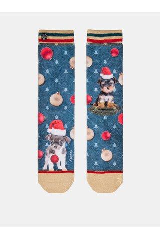 Červeno-modré dámské ponožky s motivem štěňátek v čepici Santa Clause XPOOOS