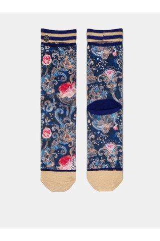 Béžovo-modré dámské květované ponožky XPOOOS